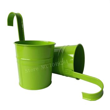 20Pcs/ Lot colorful Metal Plant Flower Pot Hook Planter Hanging Buckets wall hanging flower pot balcony flower tub