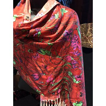 Vitage Styled Pale Pink Colored Butterfly Pashimina Shawl