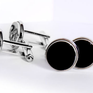 "Black cufflinks. Stylish ceramic cufflinks, silver plated findings. 0.6"" = 15mm cufflinks. Elegant everyday accessory Silver cufflinks black"