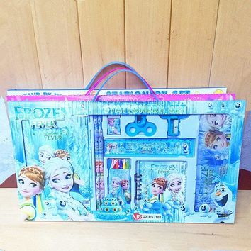 Disney  Cute Anime Frozen Princess Children Suitcase Kids Stationery Sets Kindergarten School Supplies Kids Toys Kits Gifts