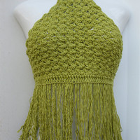 chartreuse green Crochet 70's fashion Halter by Elegantcrochets