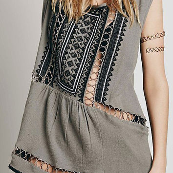 Sleeveless Cutout Embroidered Mini Shift Dress with Bead
