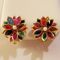 Earrings, Multi-Color Floral Glass Faux Pearl Vintage Costume Jewelry | VintageTreasuresFound - Jewelry on ArtFire