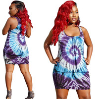 Blue and Purple Tie-Dye Print Mini Dress