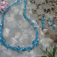 Shiny Blue necklace and earring set