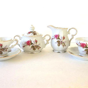 Vintage 7pc Moss Rose demitasse or tea set cream pitcher sugar bowl & lid 2 footed cups 2 saucers tea party coffee espresso porcelain china