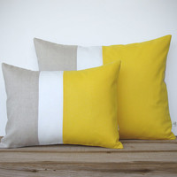 Lemon Yellow Color Block Pillow Set - (12x16) and (16x20) by JillianReneDecor - Modern Home Decor - Striped Trio - (CUSTOM COLORS)