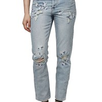 Topshop 'Stork' Ripped & Embroidered Crop Straight Leg Jeans   Nordstrom