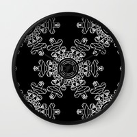 Ornate snowflake - inverted Wall Clock by Hedehede