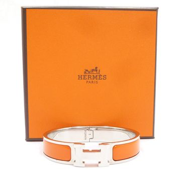Authentic HERMES Click Crack PM Bracelet Silver Brass #S202048