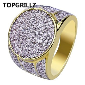 TOPGRILLZ Gold Color Plated Iced Out Micro Pave Cubic Zircon Bling Ring Hip Hop Rings For Men
