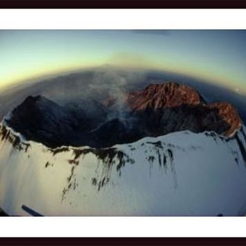 Aerial view of the Mount St. Helens crater taken after the eruption., framed black wood, white matte