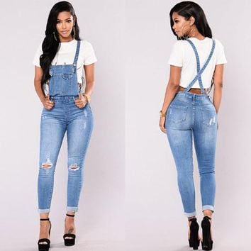 Women Casual Fashion Back Strap Ripped Jeans Romper Jumpsuit Trousers