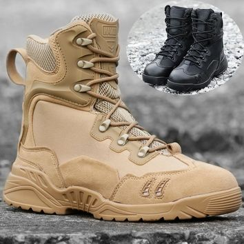 Men Basic Hiking Shoes Tactical Boots Solid Breathable Male Trekking Boots Adult Outdoor Climbing Sneakers Hunting Shoes