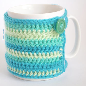 Mint Blue Emerald Cup Mug Cozy Cover Coffee Covers Tea Sleeve Wool Crochet