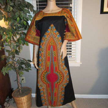 60s 70s Boho Chic Festival Angel Sleeve Dress / Hippie Coachella Style Dashiki Caftan Maxi / Bou Boudima Exotic Designs Barbados Tropical