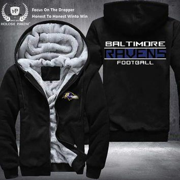 Dropshipping USA Size Unisex Baltimore Ravens Men Winter Thicken Fleece Hoodie Zipper Sweatshirt Jacket Costume Tracksuit made