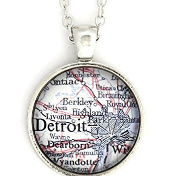 Detroit Michigan City Map Necklace Silver Tone NV36 Midwest USA Hometown Pendant Fashion Jewelry