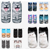 New 3D Printed Animal Women Casual Socks Cute Cat Unisex Low Cut Ankle Socks