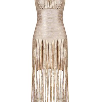 Bally Brushed Gold Bandage Fringe Maxi Dress