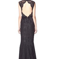 alice + olivia | JESSICA FULL LENGTH GOWN WITH FEATHER PEPLUM