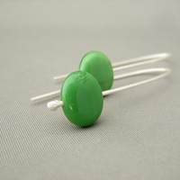 Asparagus Green Oval Czech Glass and Sterling Silver Dangle Earrings | The Silver Forge Handcrafted Jewellery