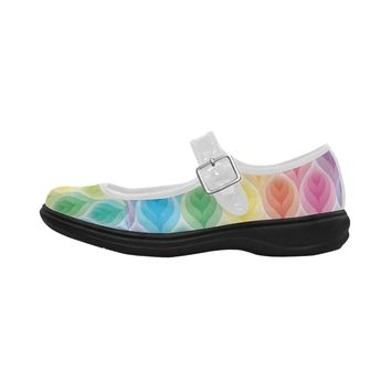 Rainbow Peacock Feather Women's Mary Jane Shoes