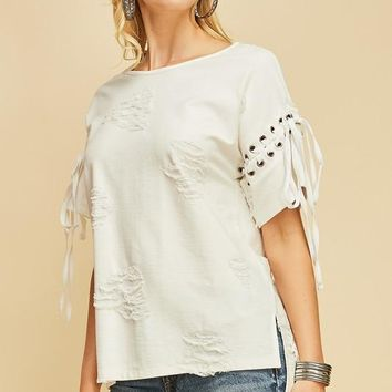 Distressed Crew Neck top with lace-up details at sleeves - Off White
