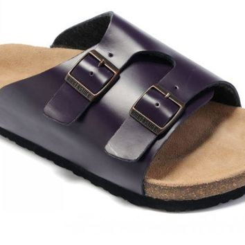 Birkenstock Z¨¹rich Sandals Leather Dark Purple - Ready Stock
