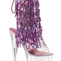 Ankle Stripper Boots With 4 Layers Of Purple Sequins Fringe