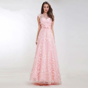 Luxury Pink Prom Dresses with Cap Sleeves Flower See-through A-Line Maxi Long Evening Party Gowns