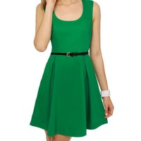 Classic Green Dress - Sleeveless Dress - Belted Dress - $41.00