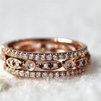 Antique Wedding Set Garnet&Diamond Wedding BAND  Full Eternity Band Ring and Two Thin Matching Band Anniversary Ring in 14K Rose Gold