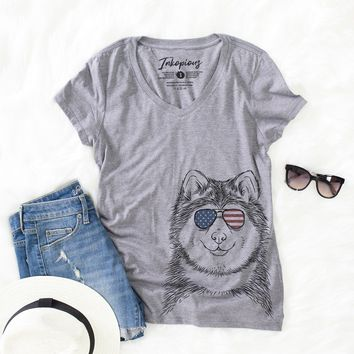 Loki the Malamute - American Flag Aviators - Women's Relaxed Fit V-neck Shirt