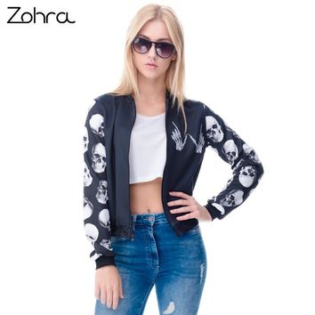 Zohra 2016 New arrival Fashion Womens Bomber Jacket Whatever Skull 3D Printed Outwear Coats University Basic Jackets