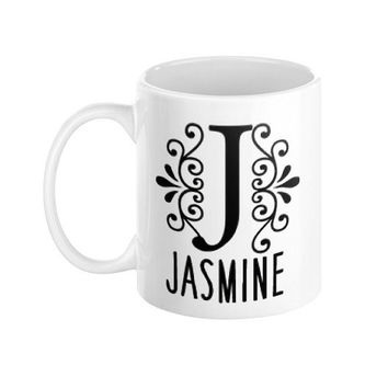 Decorative Floral Custom Name Initial Letter Customizable 11 oz Ceramic Coffee Mug Typography - Boyfriend Girlfriend Gift