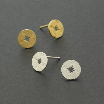 Compass Stud Earrings / graduation jewelry, graduate gift, inspirational jewelry, nautical earrings / E121