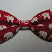 Red  and white elephants Hair bow tie or clip, Hair Bows,Fabric bows, Kids and adults,