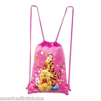 DISNEY WINNIE THE POOH&FRIENDS PINK DRAWSTRING BAG BACKPACK TRAVEL STRING  BAG