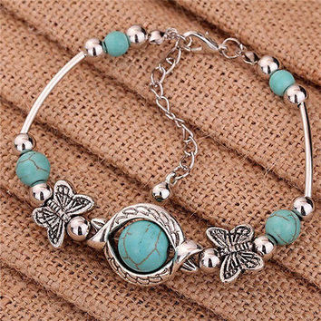 Sweet Tibetan Silver Bracelet Turquoise Inlay Butterfly Bead Adjust Bangle HU