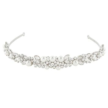 BELLA Fashion Bridal Elegant Simple Hair Piece Headband Tiara Crown Ivory Simulated Pearls Wedding Headband Women Party Jewelry
