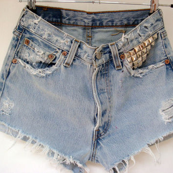 womens Reconstructed vintage high waisted distressed and studded levis shorts