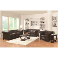 Roy 3 Pcs Traditional Button-Tufted Sofa Set with Rolled Back and Arms