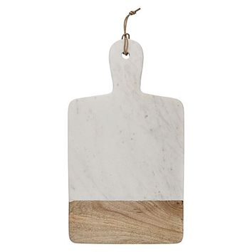 Wood/Marble Wide Chopping Board with Handle by Casa Uno | Zanui