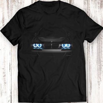 BMW E39 T-Shirt Blue Headlights Glow Black T Shirt Garment Apparel