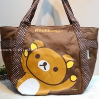 Large Licensed Rilakkuma Bear Canvas Tote Gym School Travel Shopping Shoulder Bag Handbag