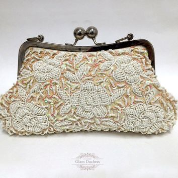 Victorian Champagne Floral Bridal Clutch