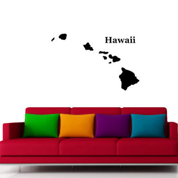 Hawaii States Map Vinyl Design -Vinyl Decal - Wall Art