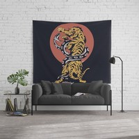 Classic Tattoo Snake vs Tiger Wall Tapestry by lostanaw