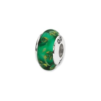 Green Hand-Blown Glass Bead & Sterling Silver Charm, 13mm